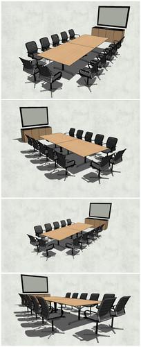 大型会议室桌椅SU模型