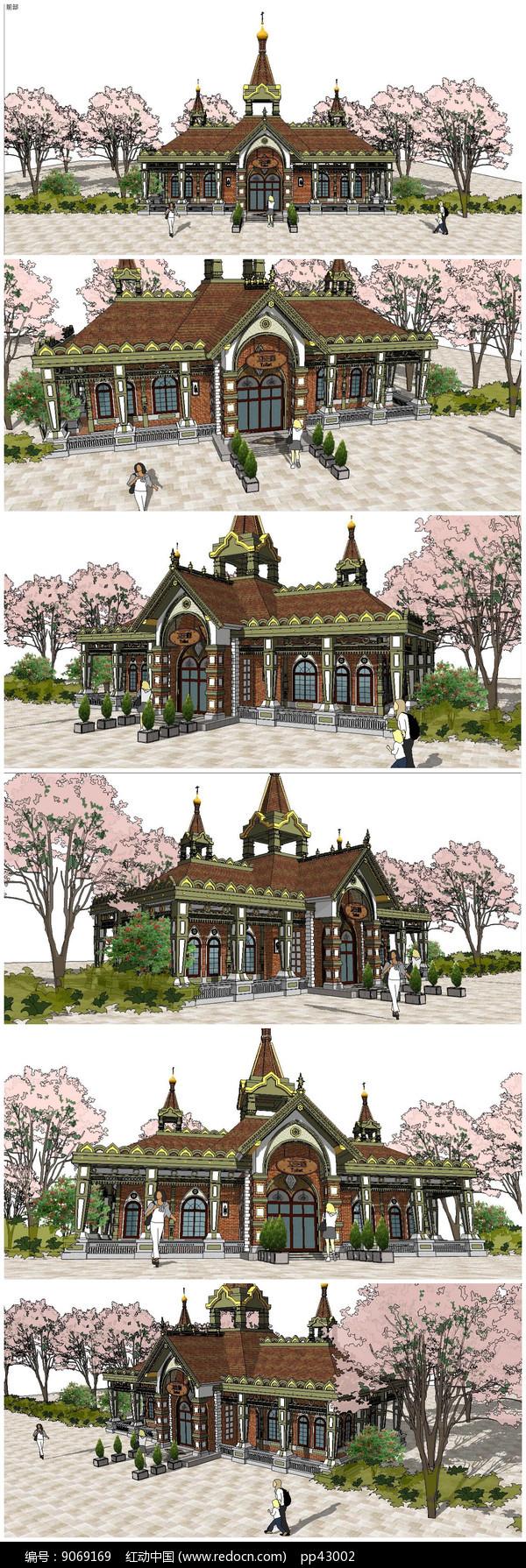 东南亚泰式公共厕所SU模型图片