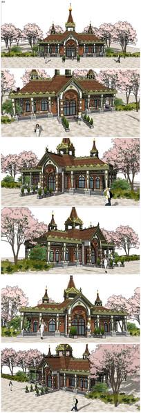 东南亚泰式公共厕所SU模型