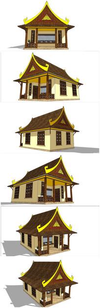 东南亚泰式建筑厕所SU模型