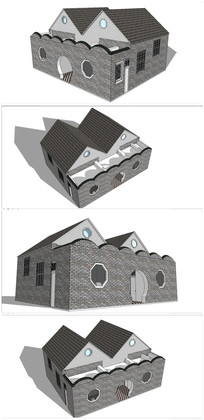 仿古卫生所建筑SU模型