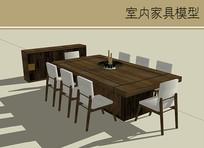 规整的木质桌椅组合