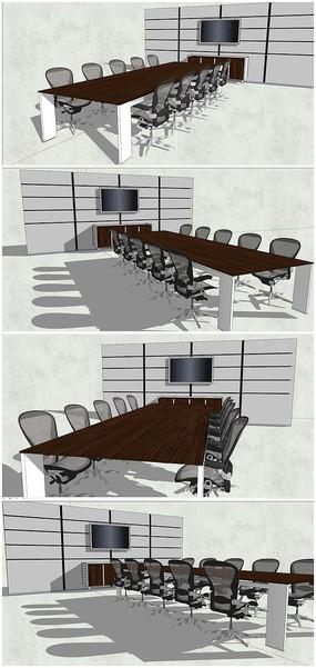 会议室办公室桌椅SU模型素材