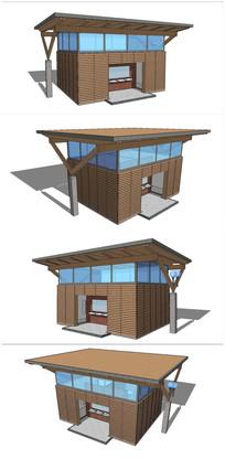 简约公共卫生间建筑SU模型