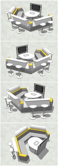 简约小型休闲会议室SU模型