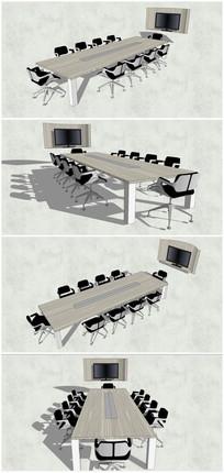 精品办公室桌椅SU模型素材