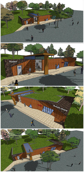精品公厕建筑SU模型