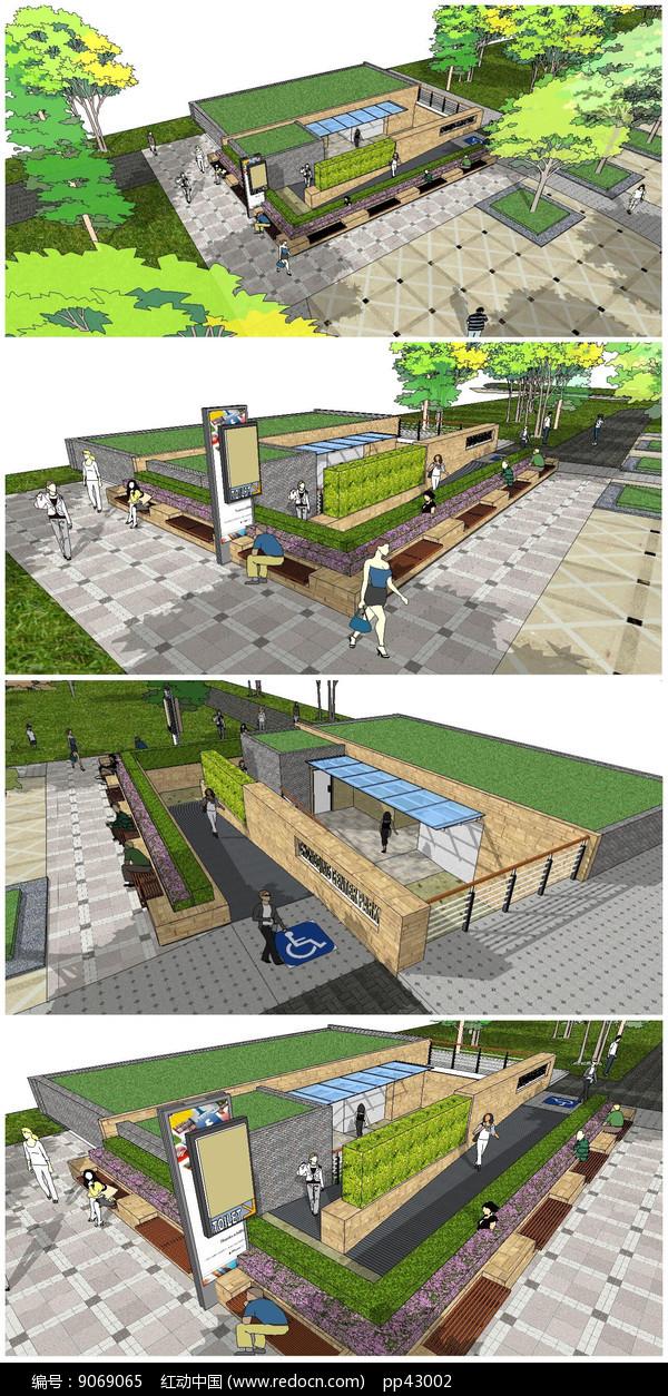 精品公共卫生厕SU模型图片