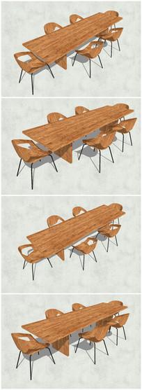 精品木质会议桌椅SU模型 skp