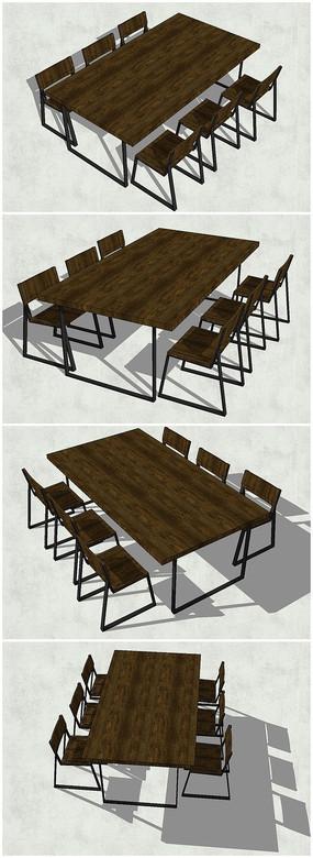 精品木质桌椅SU模型