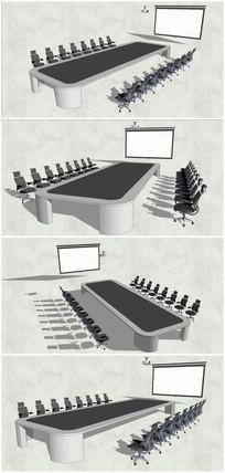 精选会议室桌椅SU模型