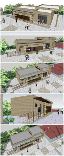 旅游区公共卫生所建筑SU模型 skp
