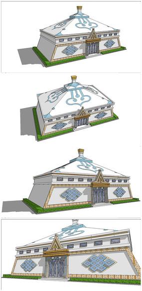 蒙古包造型公共厕所SU模型
