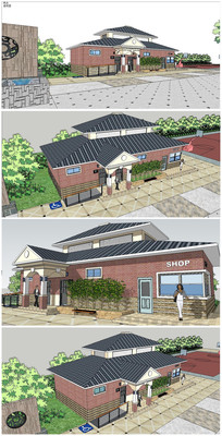 坡屋顶建筑厕所SU模型