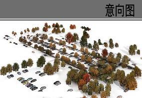 停车场绿化鸟瞰素材