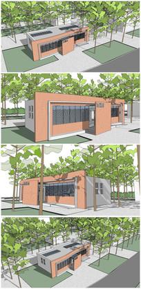 现代公共卫生间建筑SU模型