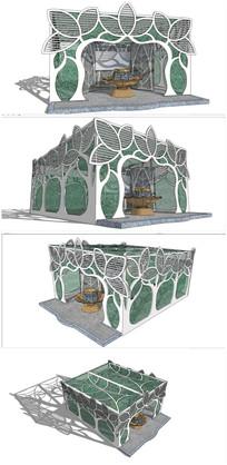 现代花造型公共卫生间建筑