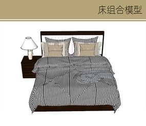 现代条纹双人床