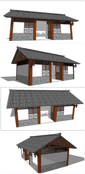 中式仿古建筑公共厕所SU模型