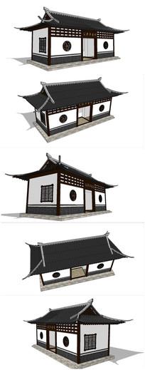 中式公共卫生间建筑SU模型