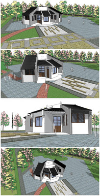 中式建筑公共卫生间SU模型 skp