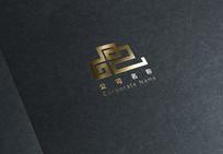 复古风云形标志logo