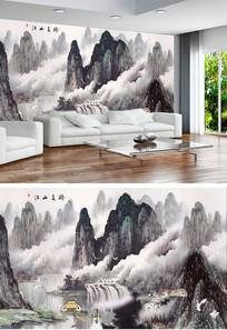 江山多娇山水国画背景墙