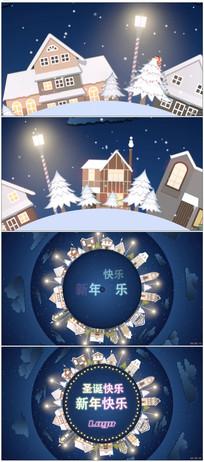 卡通旋转地球圣诞霓虹灯开场