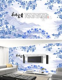 牡丹青花瓷山水背景墙