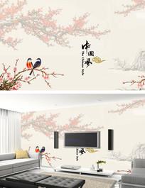 水墨梅花中国风背景墙