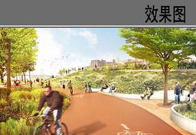 城市慢行系统景观效果图