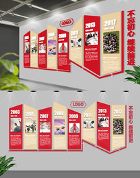 红色动感企业历程文化墙设计