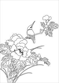 花丛中的小鸟装饰画
