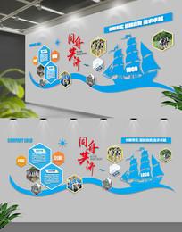 蓝色动感帆船企业文化墙