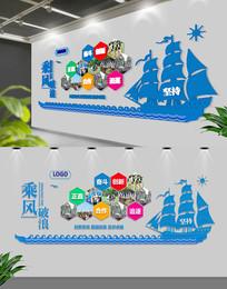 蓝色动感帆船文化墙设计