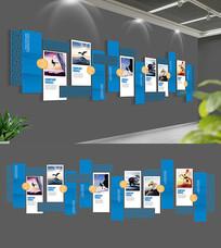 蓝色简约中式企业文化墙展板