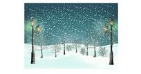 圣诞节冬日雪景矢量图