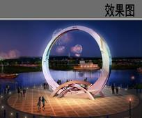 时光之门雕塑夜景效果图 JPG