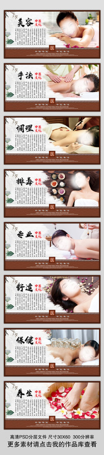 整套传统中医美容文化展板挂画