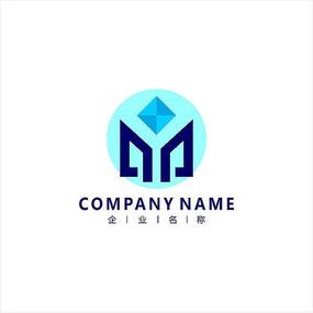 字母M 标志 logo