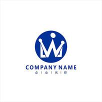 字母W 皇冠 标志 logo