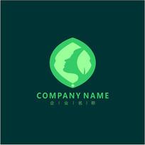 侧脸 叶子 天然 标志 logo CDR