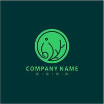 大象 绿叶 自然 标志 logo CDR