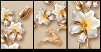 立体金属花朵装饰画