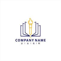 书本 火炬 知识 标志 logo CDR