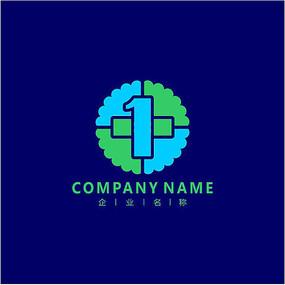 数字1 医院 医药 标志 logo