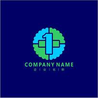 数字1 医院 医药 标志 logo CDR