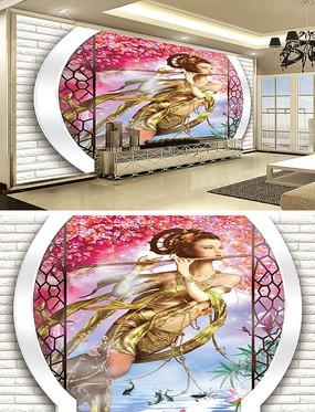 仙女复古中式背景墙壁画