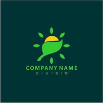 叶子 太阳 植物 标志 logo CDR