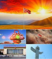 中国中国鲜红的太阳永不落背景视频